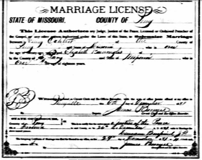 Oehlert Burroughs marriage license