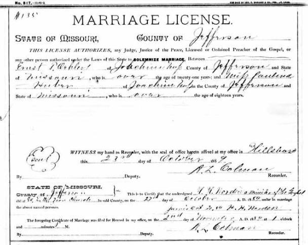 Oehlert Huber marriage license