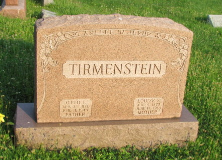Otto and Louise Tirmenstein gravestone Our Redeemer Afton MO