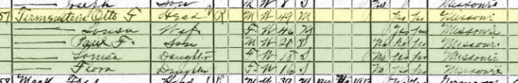 Otto Tirmenstein 1920 census St. Louis MO