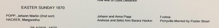 Popp Hacker marriage record transcription Immanuel Altenburg MO