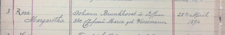 Rosa Brunkhorst baptism record Christ Jacob IL