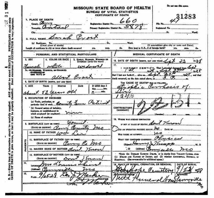 Sarah Prost death certificate