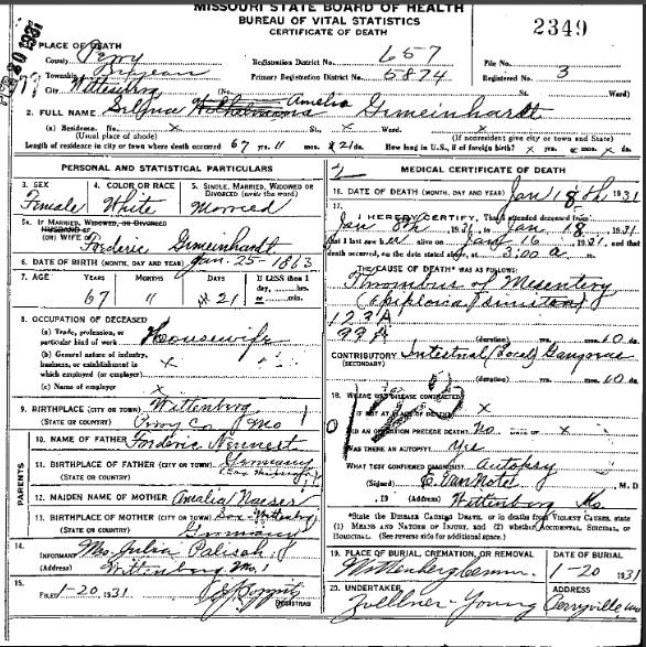 Selma Gemeinhardt death certificate