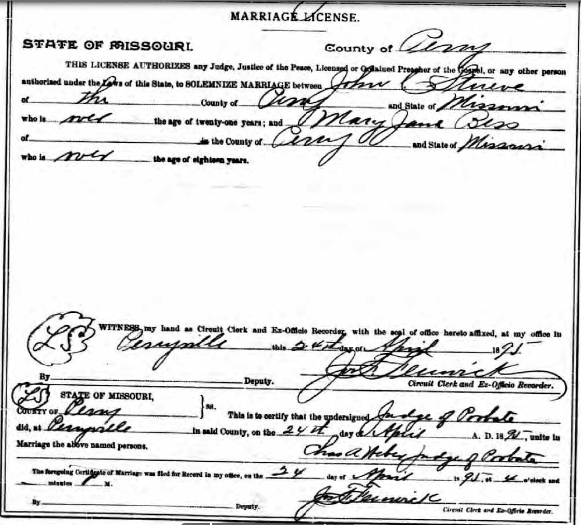 Stueve Bess marriage license
