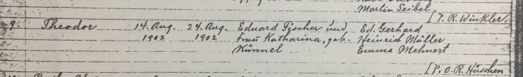 Theodore Fischer baptism record Trinity Altenburg MO