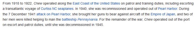 USS Chew information