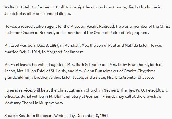 Walter Estel obituary