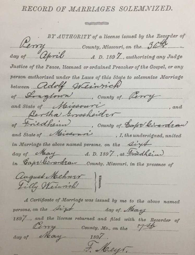 Weinrich Grossheider marriage record Trinity Friedheim MO