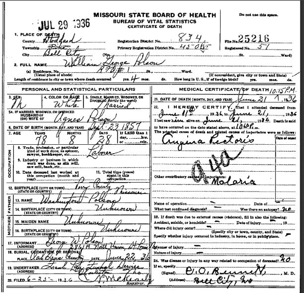 William Polson death certificate