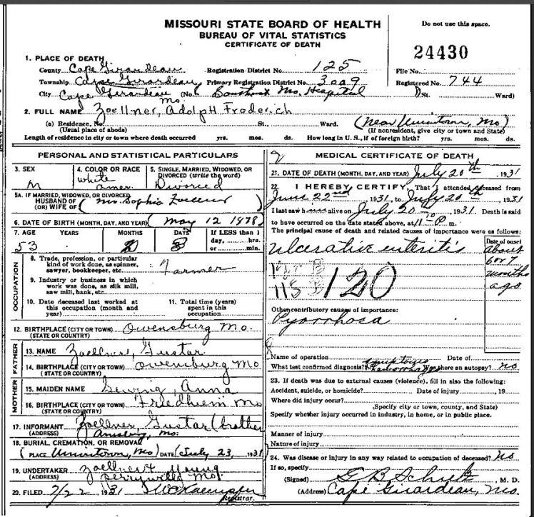 Adolph Zoellner death certificate