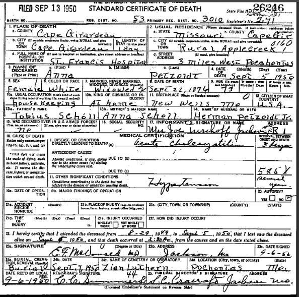 Anna Petzoldt death certificate