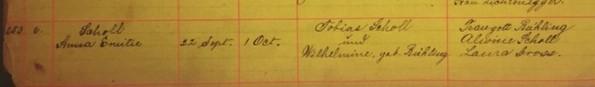 Anna Scholl baptism record Immanuel New Wells MO