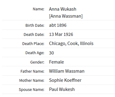 Anna Wukasch Chicago death record