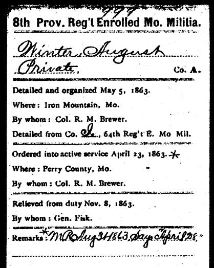 August Winter Civil War military record 1