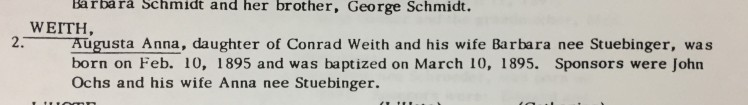 Augusta Weith baptism record Cross Congregation Longtown MO