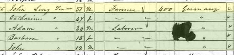 Barbara Lang 1850 census Brazeau Township MO