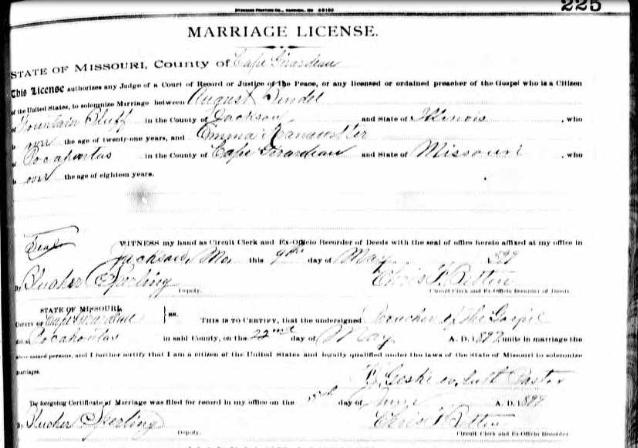 Bendel Kranawetter marriage license