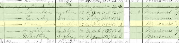 Benjamin Hopfer 1900 census Union Township MO
