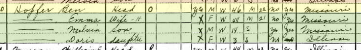 Benjamin Hopfer 1930 census Fountain Bluff Township IL