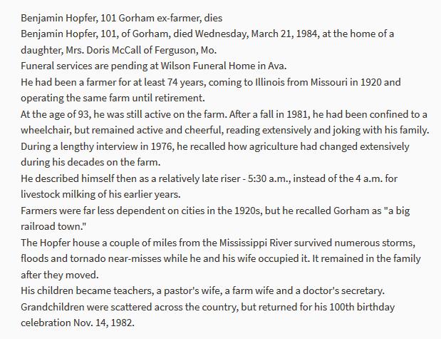 Benjamin Hopfer obituary