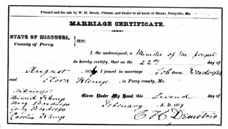 Boxdorfer Klemp marriage record Perry County MO