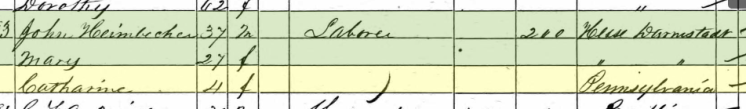 Catherine Heimbecher 1860 census Brazeau Township MO