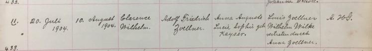 Clarence Wilhelm Zoellner baptism record Trinity Friedheim MO
