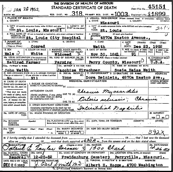 Conrad Weith death certificate