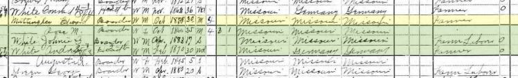 Conrad Weith White 1900 census Central Township MO