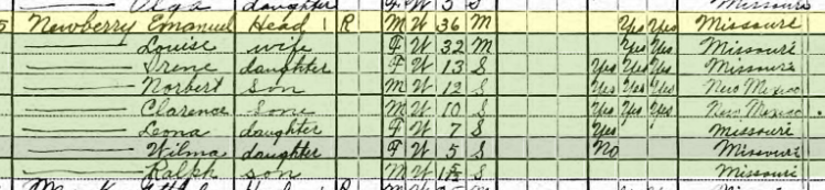 Emanuel Newberry 1920 census Salem Township MO