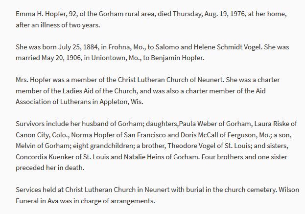 Emma Hopfer obituary