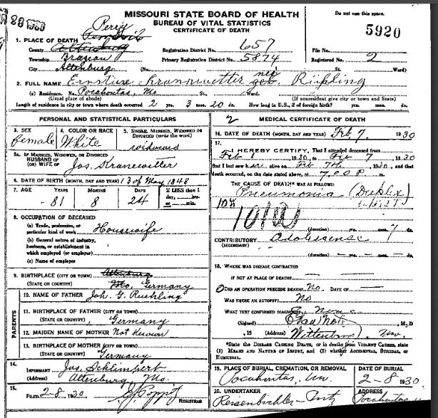 Ernstine Kranawetter death certificate