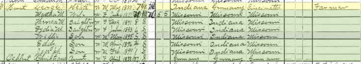 George Hunt 1900 census Brazeau Township MO