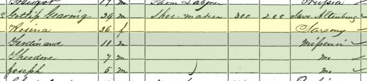 Gottlieb Goehring 1860 census Altenburg