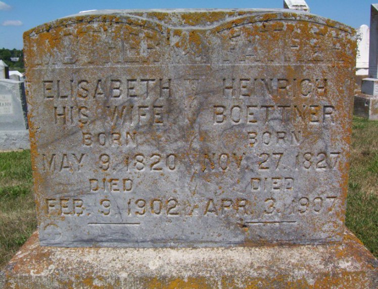 Heinrich and Elizabeth Buettner gravestone Immanuel Perryville MO