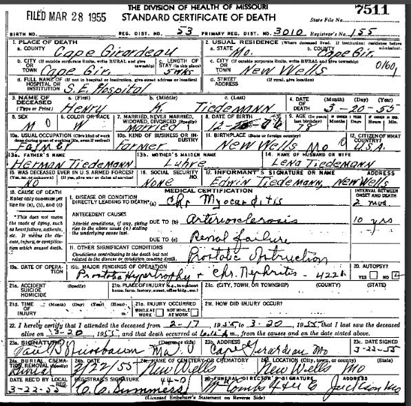 Henry Tiedemann death certificate