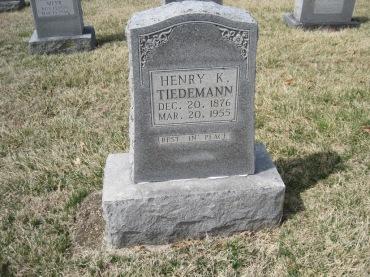 Henry Tiedemann gravestone Immanuel New Wells MO