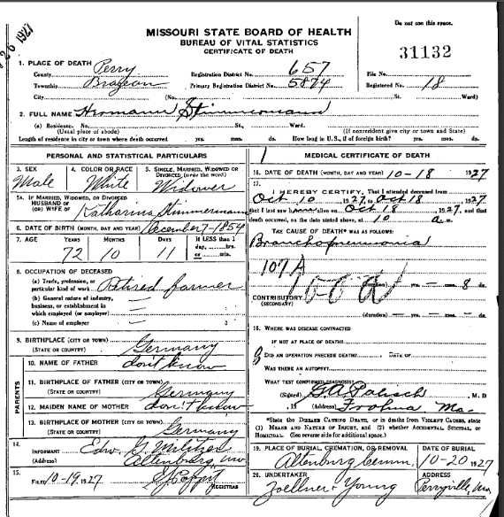 Herman Stemmerman death certificate