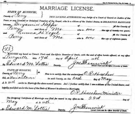 Hopfer Vogel marriage license