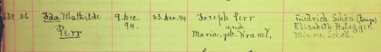 Ida Perr baptism record Immanuel New Wells MO