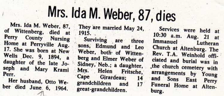 Ida Weber obituary