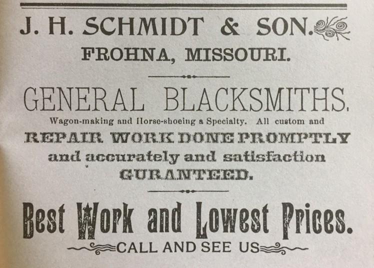 J.H. Schmidt Blacksmith Frohna