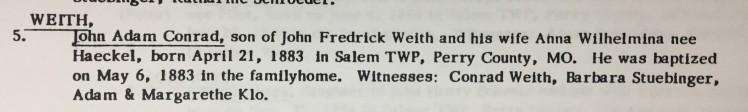 John Adam Conrad Weith baptism record Cross Congregation Longtown MO