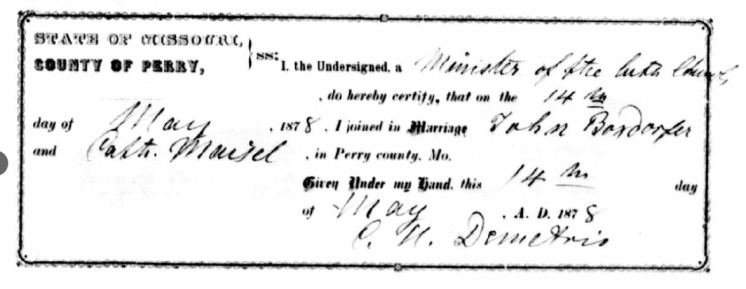 John Boxdorfer Maisel marriage record