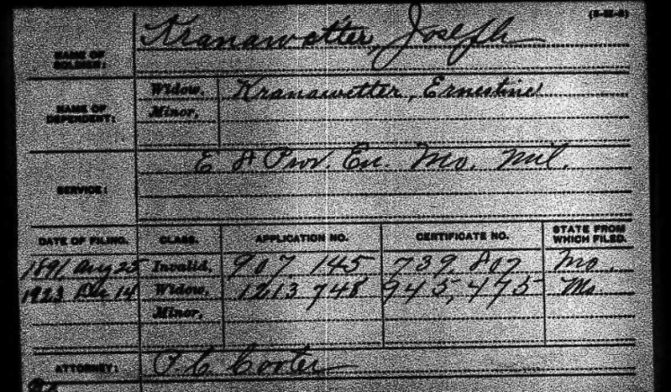 Joseph Kranawetter Civil War pension record