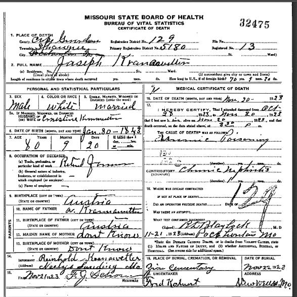 Joseph Kranawetter death certificate