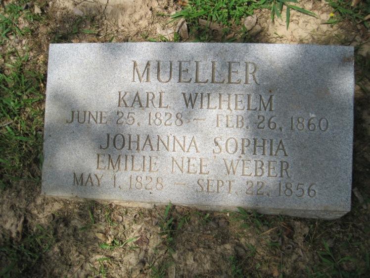 Karl Wilhelm and Emilie Mueller gravestone Concordia Frohna MO