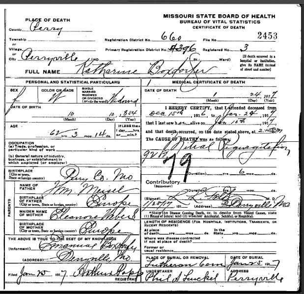 Katherine Maisel Boxdorfer death certificate