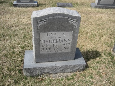 Lena Tiedemann gravestone Immanuel New Wells MO